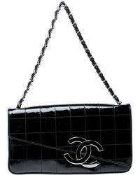 Chanel - Chocolate Bar Patent Leather Cc Logo Chain Clutch - Lyst