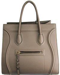 0e18777673bf Céline - Taupe Calfskin Leather Medium Phantom Luggage Tote - Lyst