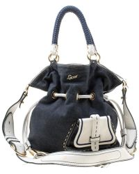 Lancel - Blue/white Denim And Leather Premiere Flirt Bucket Shoulder Bag - Lyst