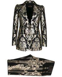 Roberto Cavalli - Metallic Jacquard And Foil Print Blazer And Jeans Set S - Lyst