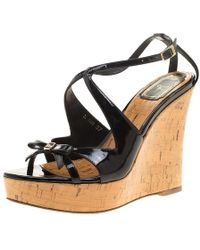 Dior - Christian Patent Leather Starlet Platform Cork Wedges - Lyst