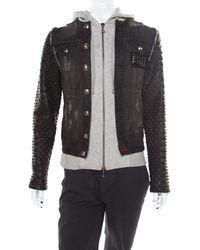 04de995e3e Philipp Plein - Illegal Fight Club Black Textured Leather And Denim  Johnny's Jacket M - Lyst