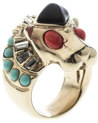 Chanel - Lion Head Multi Colour Cabochon Gold Tone Cocktail Ring Size 52 - Lyst