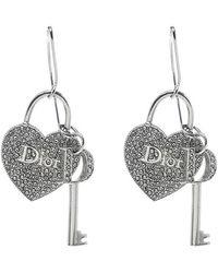Dior - Heart Lock & Key Charm Crystal Tone Drop Hook Earrings - Lyst