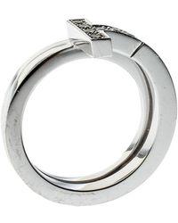 Tiffany & Co. Tiffany T Wrap Diamond 18k White Gold Ring Size 50 - Metallic