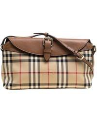 Burberry - Beige  Haymarket Check Canvas And Leather Crossbody Bag - Lyst 02922ddfb8b73