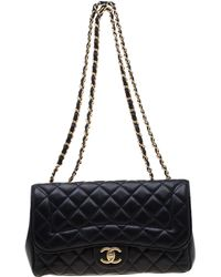 21aea293dd0822 Chanel - Navy Blue Quilted Leather Mademoiselle Chic Flap Shoulder Bag -  Lyst