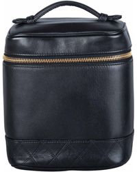 Chanel - Black Leather Cosmetic Vanity Bag - Lyst