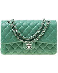0d6abb3c5370 Chanel - Green Quilted Leather Medium Classic Double Flap Bag - Lyst
