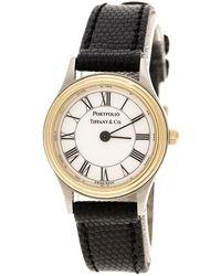 Tiffany & Co. - White Gold Tone Stainless Steel Portfolio Women's Wristwatch 24 Mm - Lyst