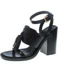 eebf33075dd Burberry - Black Leather Bethany Tassel Detail Block Heel Sandals Size 40 -  Lyst