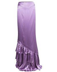 839be0ffa0 Lyst - Roberto Cavalli Satin Floral Print Ruffled Bottom Maxi Skirt ...