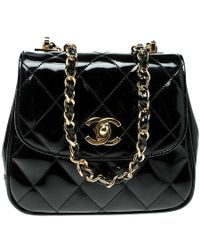 Chanel - Quilted Patent Leather Vintage Mini Single Flap Bag - Lyst