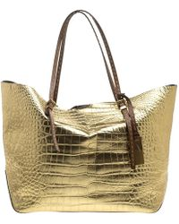 1fe44fb04f1 MICHAEL Michael Kors - Gold Croc Embossed Leather Gia Tote - Lyst