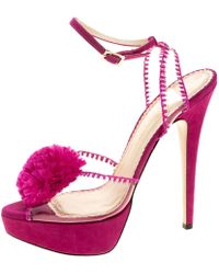 Charlotte Olympia - Pink Pvc And Suede Pomeline Peep Toe Platform Sandals Size 40 - Lyst