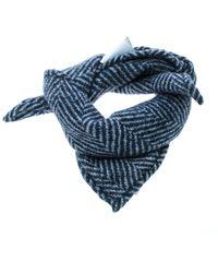 Brunello Cucinelli - Indigo Wool And Silk Reversible Square Pocket Square - Lyst