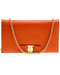 Ferragamo - Orange Leather Miss Vara Wallet On Chain - Lyst
