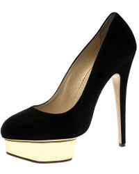 Charlotte Olympia - Black Suede Dolly Platform Heels - Lyst