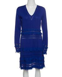 Roberto Cavalli - Perforated Knit Ruffle Detail Long Sleeve Dress L - Lyst c5abbe9d8