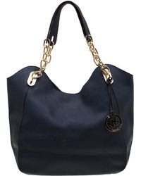 91d253485009 MICHAEL Michael Kors - Blue Leather Lilly Chain Tote - Lyst