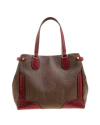 Etro - /red Paisley Printed Canvas And Leather Tote - Lyst