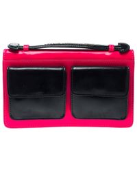 Marc By Marc Jacobs - Neon Pink And Navy Blue Leather Pocket Clutch - Lyst