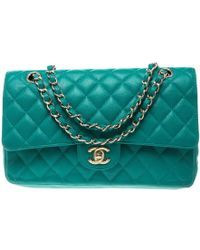 Chanel - Quilted Caviar Leather Medium Classic Double Flap Bag - Lyst