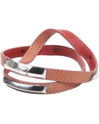 Tod's - Orange Leather Triple Wrap Bracelet - Lyst