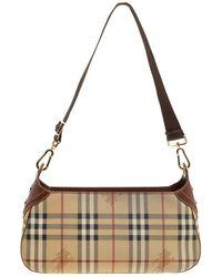 Burberry - Beige/copper Haymarket Check Canvas And Leather Shoulder Bag - Lyst