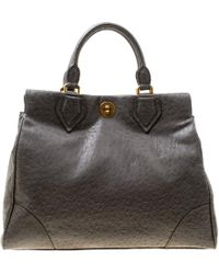 Marc By Marc Jacobs - Grey Ostrich Embossed Leather Ozzie Square Lucy Top Handle Bag - Lyst