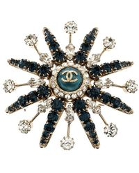 Chanel - Blue Crystal Studded Circular Pin Brooch - Lyst