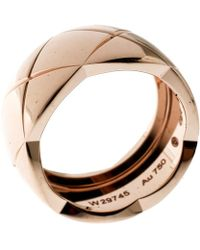 Chanel - Coco Crush Quilted 18k Rose Gold Band Ring Size 56 - Lyst