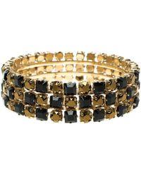 Etro - Black Crystal Tone Wide Bangle Bracelet - Lyst