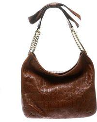 Carolina Herrera - Monogram Leather Bow Hobo - Lyst