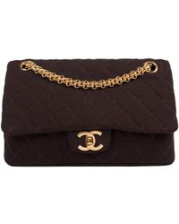 00782be65454 Chanel - Brown Quilted Jersey Fabric Small Vintage Classic Double Flap Bag  - Lyst