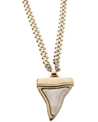Givenchy - Small Shark Tooth Pendant Tone Two Tier Chain Necklace - Lyst