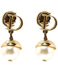 Dior - Mise En Faux Pearl Tone Drop Earrings - Lyst