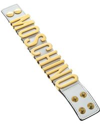 Moschino - Leather Logo Plaque Wide Cuff Bracelet - Lyst