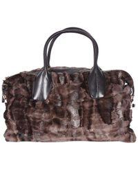 78e9ad9770 Lyst - Ferragamo Fur-Leather Verve Bag in Black in Black