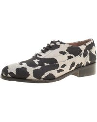 Boutique Moschino - /grey Cow Print Suede Lace Up Oxfords - Lyst