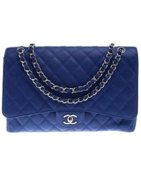 75f381d48c629e Chanel - Blue Quilted Caviar Leather Maxi Classic Single Flap Bag - Lyst