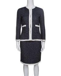 CH by Carolina Herrera - Textured Contrast Trim Detail Skirt Suit S - Lyst