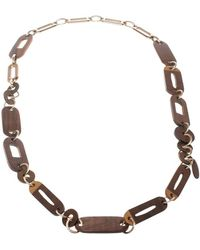 Marni - Wood & Gold Tone Long Chain Link Necklace - Lyst