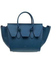 Céline - Teal Blue Leather Small Tie Tote - Lyst