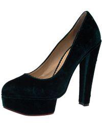 a2e979fc00a Charlotte Olympia - Emerald Velvet Greta Platform Court Shoes - Lyst