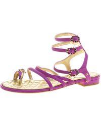 Chanel - Leather Enamel Embellished Toe Ring Flat Sandals - Lyst