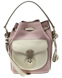 11313906479d Ralph Lauren - Blush Pink off White Leather Ricky Drawstring Bucket Bag -  Lyst