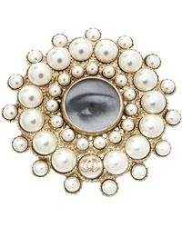 Chanel - Faux Pearl Embedded Eye Print Circular Brooch - Lyst
