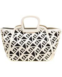 Ralph Lauren - Off Greek Print Leather Top Handle Bag - Lyst