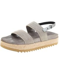 a7f928c2b03 Brunello Cucinelli - Metallic Silver Beaded Strap Espadrille Flat Sandals  Size 39 - Lyst